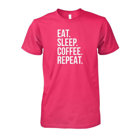 Image of Eat Sleep Coffee Repeat Tee - Heliconia / S - Short Sleeves