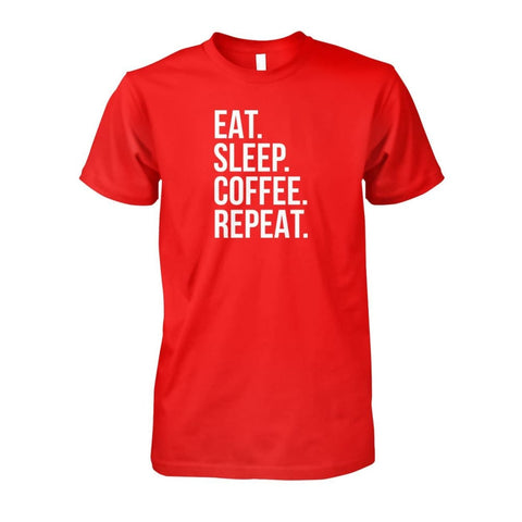 Image of Eat Sleep Coffee Repeat Tee - Red / S - Short Sleeves