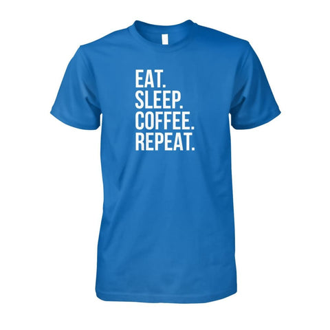 Eat Sleep Coffee Repeat Tee - Sapphire / S - Short Sleeves