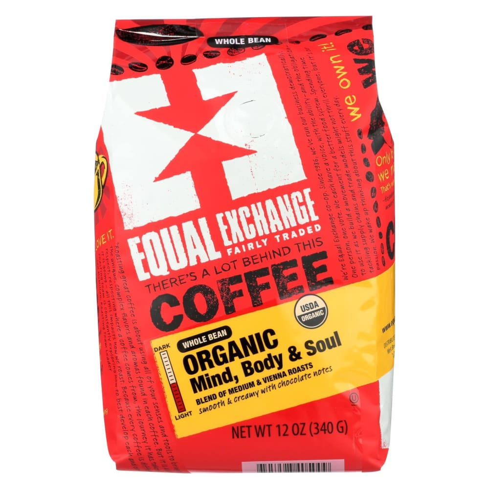 Equal Exchange Organic Whole Bean Coffee - Mind Body And Soul - Case Of 6 - 12 Oz. - Eco-Friendly Home & Grocery
