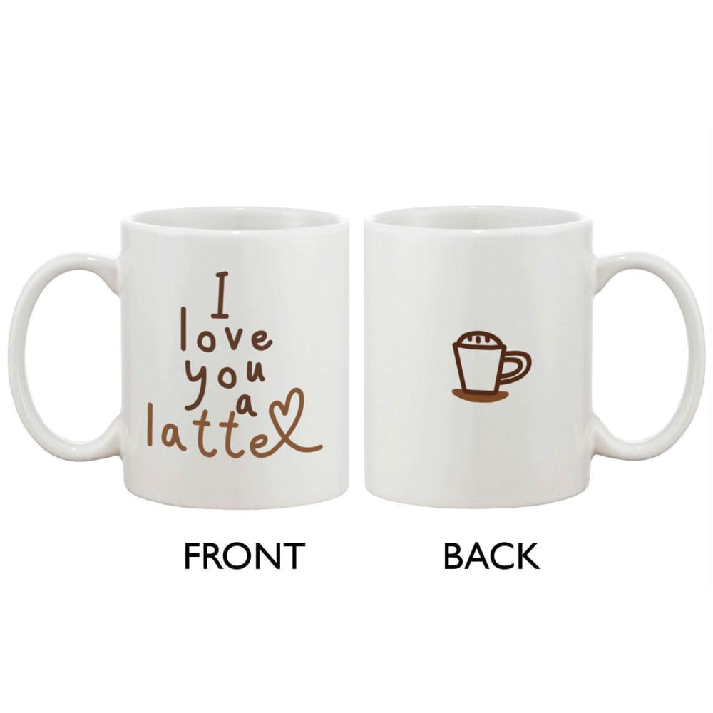 Funny and Cute Ceramic Coffee Mug - I Love You a Latte 11oz Coffee Mug Cup - Apparel & Accessories