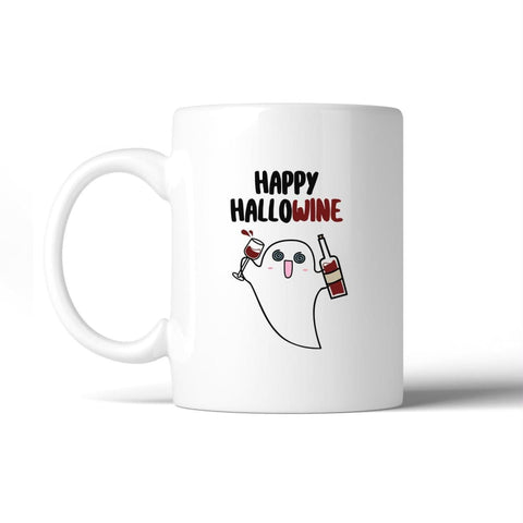 Image of Happy Hallowine Ghost Wine White Mug - Apparel & Accessories