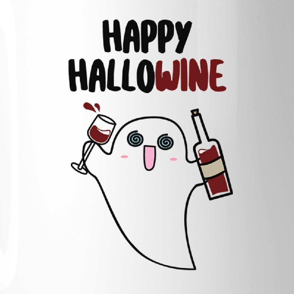 Happy Hallowine Ghost Wine White Mug - Apparel & Accessories