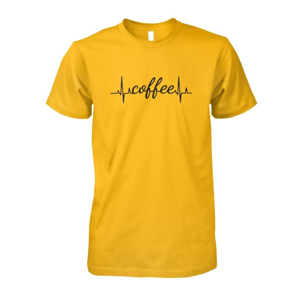 Heart Beat Coffee Tee - Gold / S - Short Sleeves
