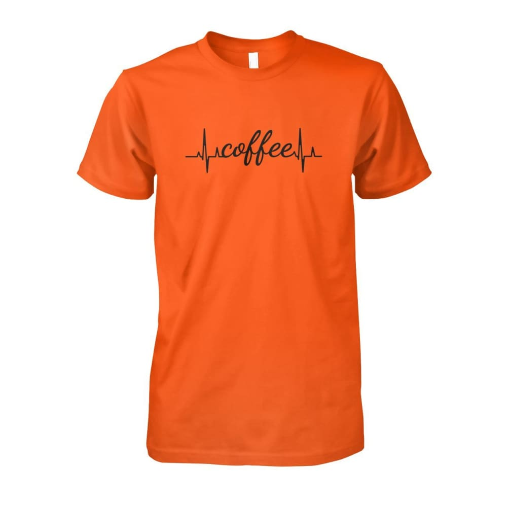 Heart Beat Coffee Tee - Orange / S - Short Sleeves