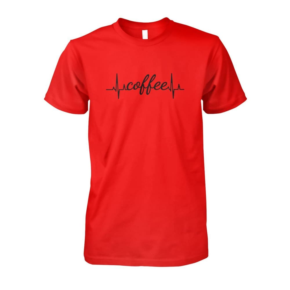 Heart Beat Coffee Tee - Red / S - Short Sleeves