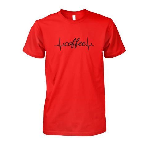 Image of Heart Beat Coffee Tee - Red / S - Short Sleeves