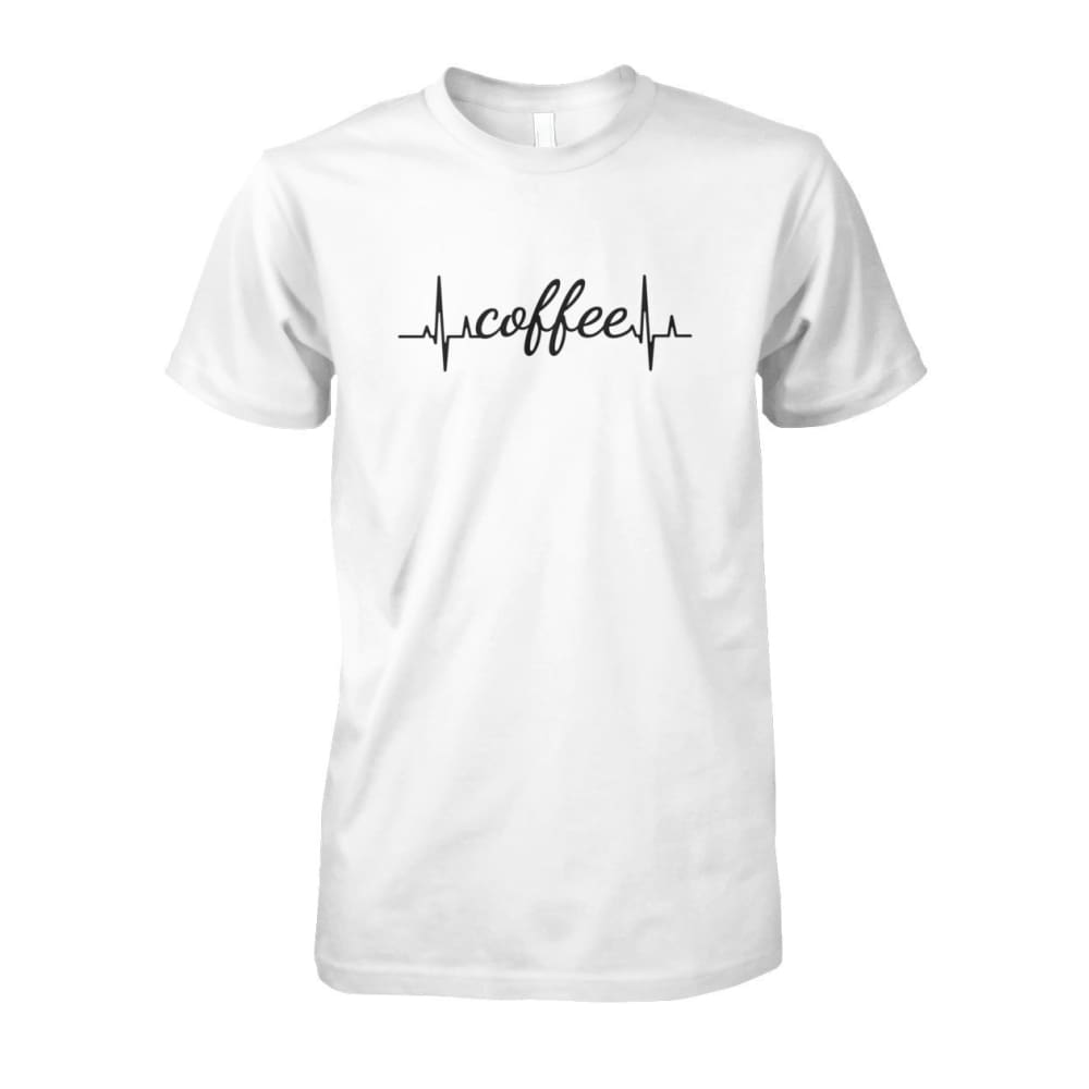 Heart Beat Coffee Tee - White / S - Short Sleeves