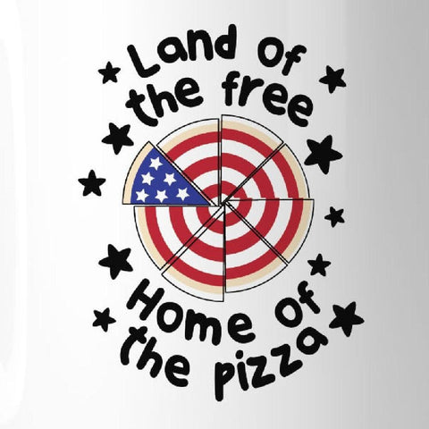 Image of Home Of The Pizza Funny Patriotic Gift Coffee Mug For Pizza Lovers - Apparel & Accessories