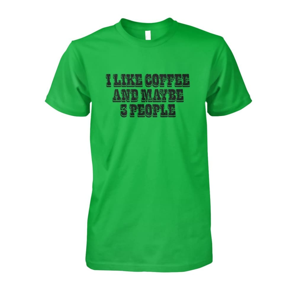 I Like Coffee and Maybe 3 People Tee - Electric Green / S - Short Sleeves