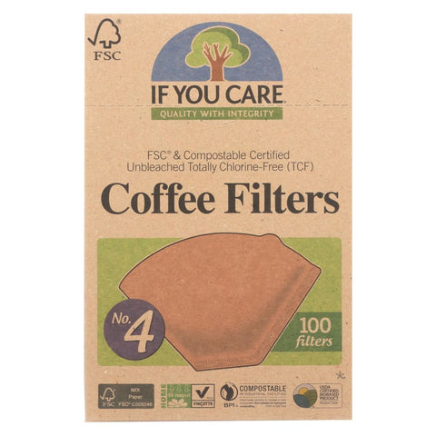 If You Care #4 Cone Coffee Filters - Brown - Case Of 12 - 100 Count - Eco-Friendly Home & Grocery