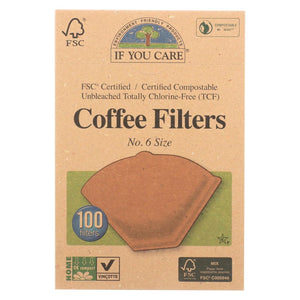 If You Care Coffee Filters - #6 Cone Unbleached - Case Of 12 - 100 Count - Eco-Friendly Home & Grocery