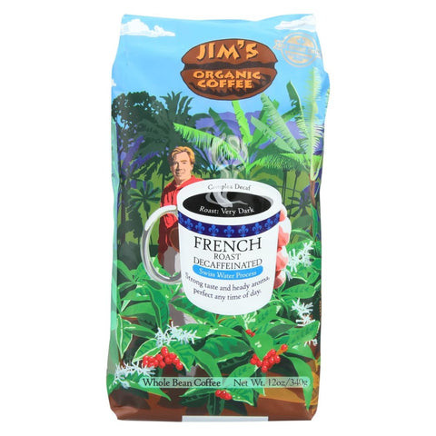 Image of Jims Organic Coffee Coffee Beans - Organic - French Roast - Decaf - 11 Oz - Case Of 6 - Eco-Friendly Home & Grocery