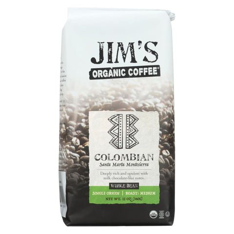 Jims Organic Coffee - Whole Bean - Colombian Santa Marta Montesierra - Case Of 6 - 12 Oz. - Eco-Friendly Home & Grocery
