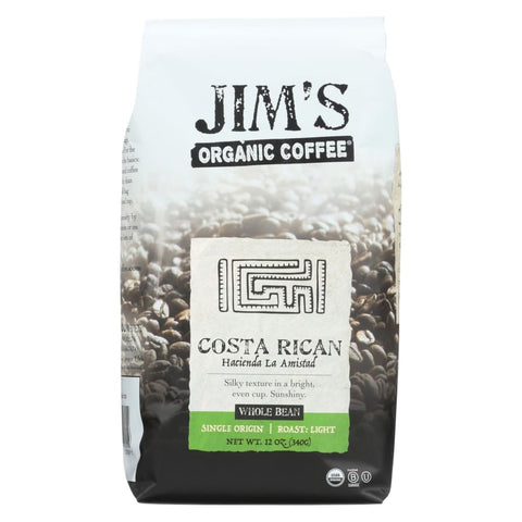 Jims Organic Coffee - Whole Bean - Costa Rican - Case Of 6 - 12 Oz. - Eco-Friendly Home & Grocery