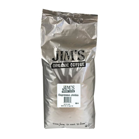 Jims Organic Coffee - Whole Bean - Espresso Jimbo - Bulk - 5 Lb. - Eco-Friendly Home & Grocery
