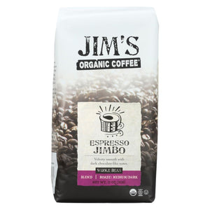 Jims Organic Coffee - Whole Bean - Espresso Jimbo - Case Of 6 - 11 Oz. - Eco-Friendly Home & Grocery