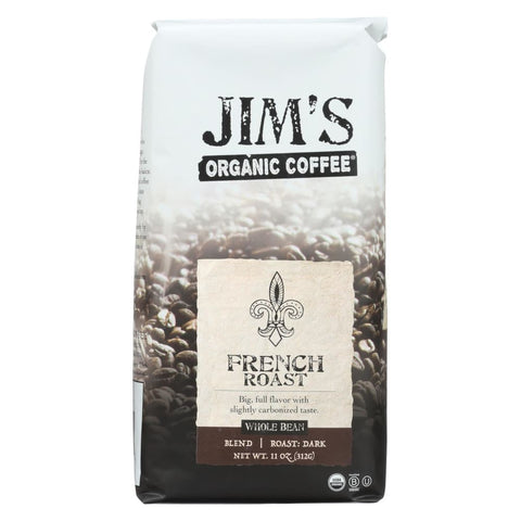 Jims Organic Coffee - Whole Bean - French Roast - Case Of 6 - 11 Oz. - Eco-Friendly Home & Grocery