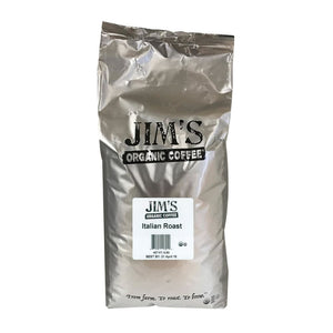 Jims Organic Coffee - Whole Bean - Italian Roast - Bulk - 5 Lb. - Eco-Friendly Home & Grocery