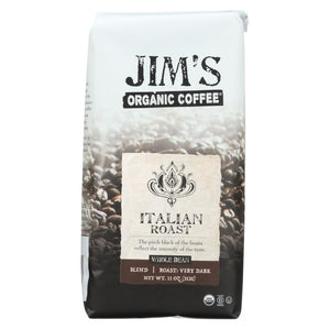 Jims Organic Coffee - Whole Bean - Italian Roast - Case Of 6 - 11 Oz. - Eco-Friendly Home & Grocery