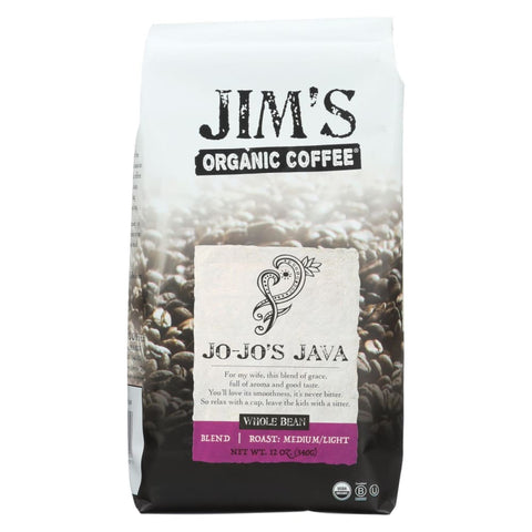 Jims Organic Coffee - Whole Bean - Jo Jos Java - Case Of 6 - 12 Oz. - Eco-Friendly Home & Grocery