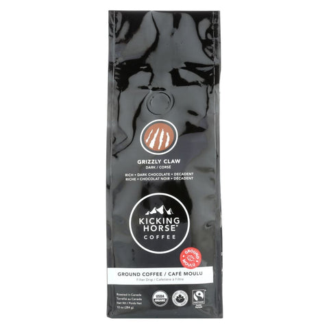 Kicking Horse Coffee - Organic - Ground - Grizzly Claw - Dark Roast - 10 Oz - Case Of 6 - Eco-Friendly Home & Grocery