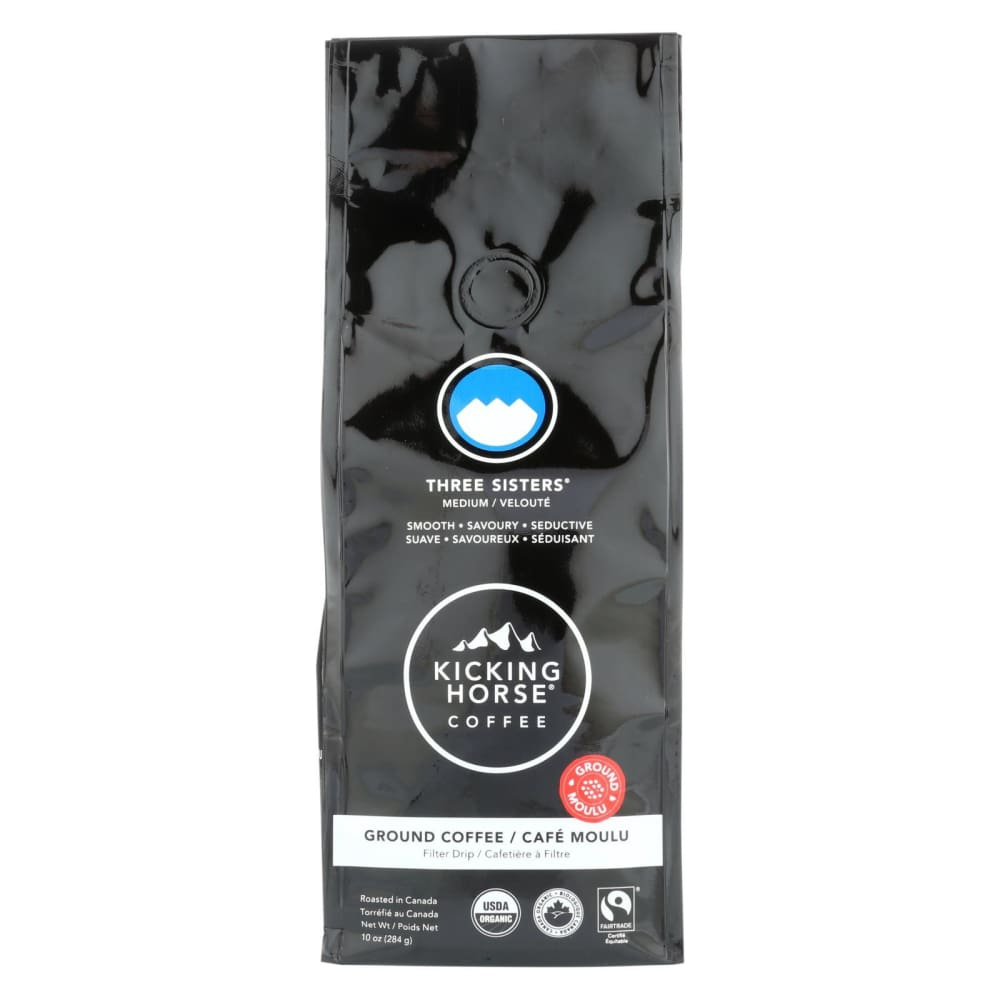 Kicking Horse Coffee - Organic - Ground - Three Sisters - Medium Roast - 10 Oz - Case Of 6 - Eco-Friendly Home & Grocery