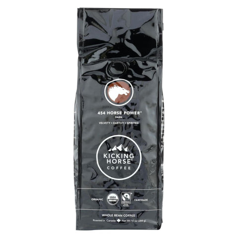Kicking Horse Coffee - Organic - Whole Bean - 454 Horse Power - Dark Roast - 10 Oz - Case Of 6 - Eco-Friendly Home & Grocery