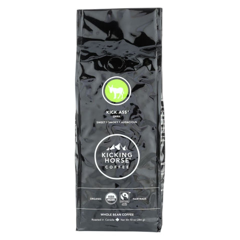 Kicking Horse Coffee - Organic - Whole Bean - Kick Ass - Dark Roast - 10 Oz - Case Of 6 - Eco-Friendly Home & Grocery