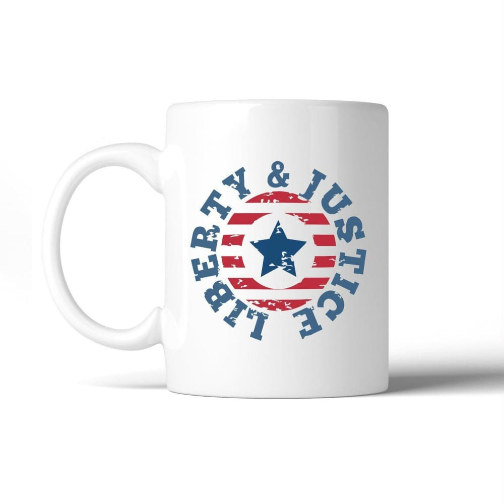Liberty & Justice American Flag Coffee Mug For Independence Day - Apparel & Accessories