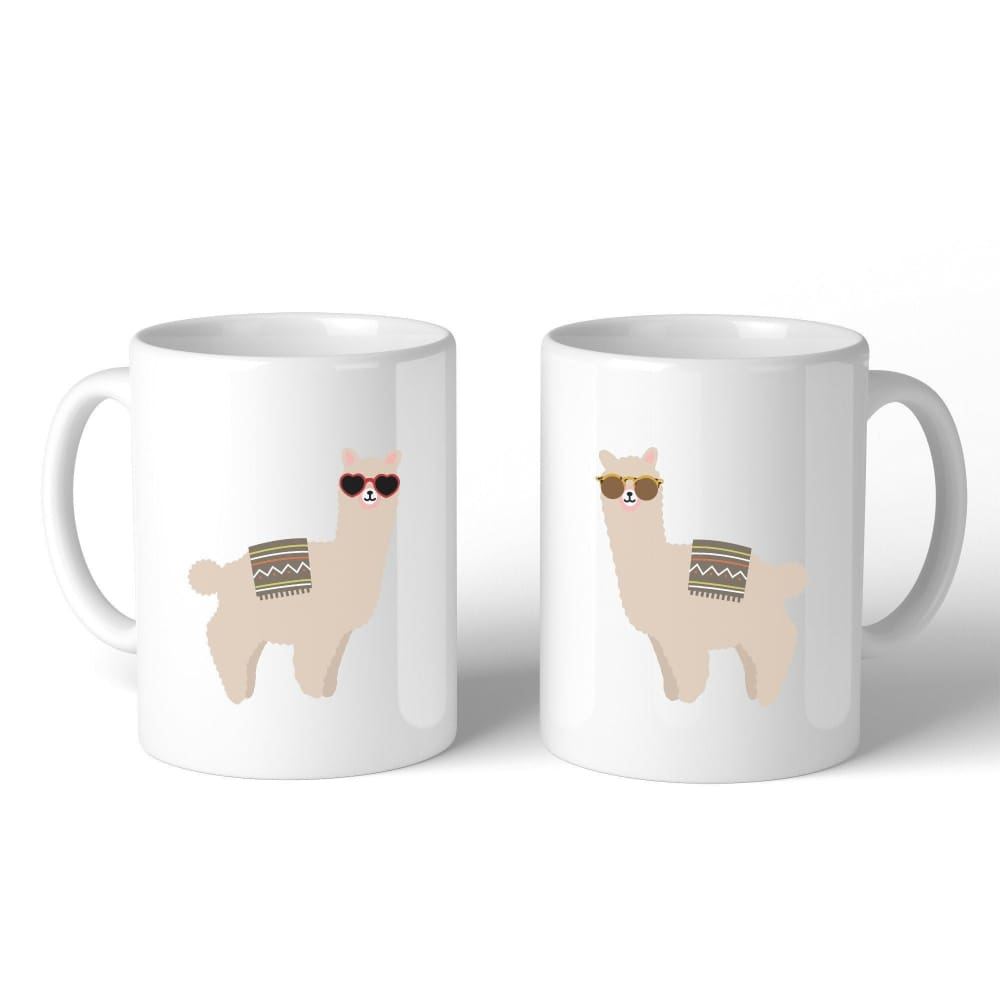 Llamas With Sunglasses BFF Matching White Mugs - Apparel & Accessories