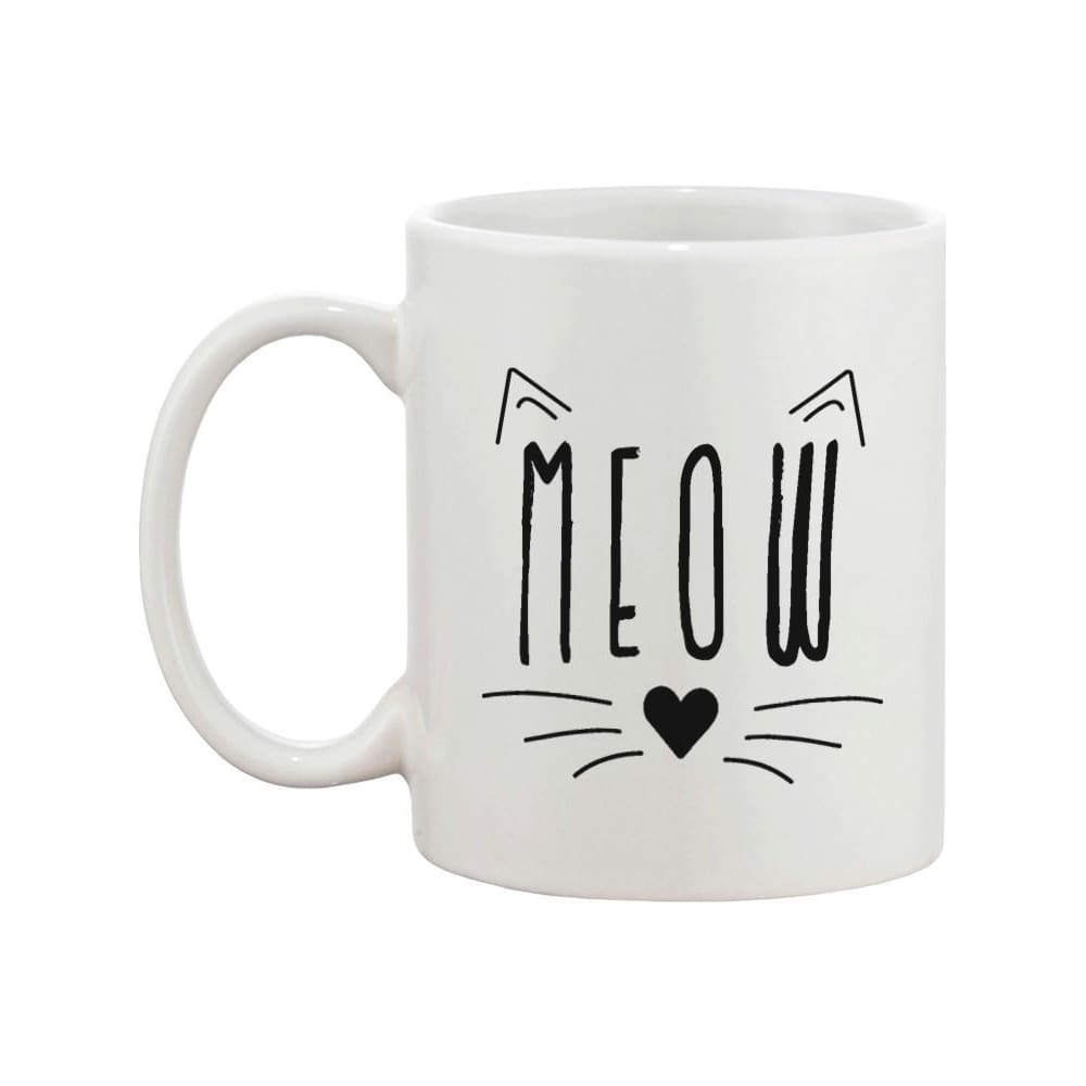 Meow Cute Ceramic Mug Kitty Face Coffee Cup Perfect Gift Idea for Cat Lover - Apparel & Accessories