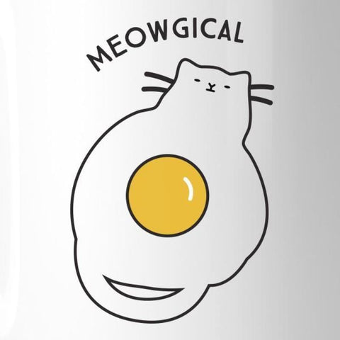 Image of Meowgical Cat And Fried Egg White Mug - Apparel & Accessories