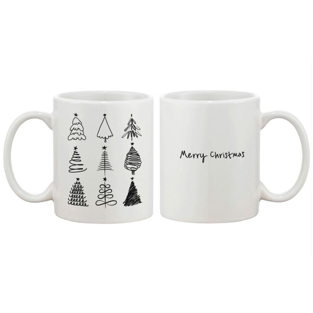 Merry Christmas Tree Collection Mug - X-mas Coffee Cups Holiday Gift Idea - Apparel & Accessories