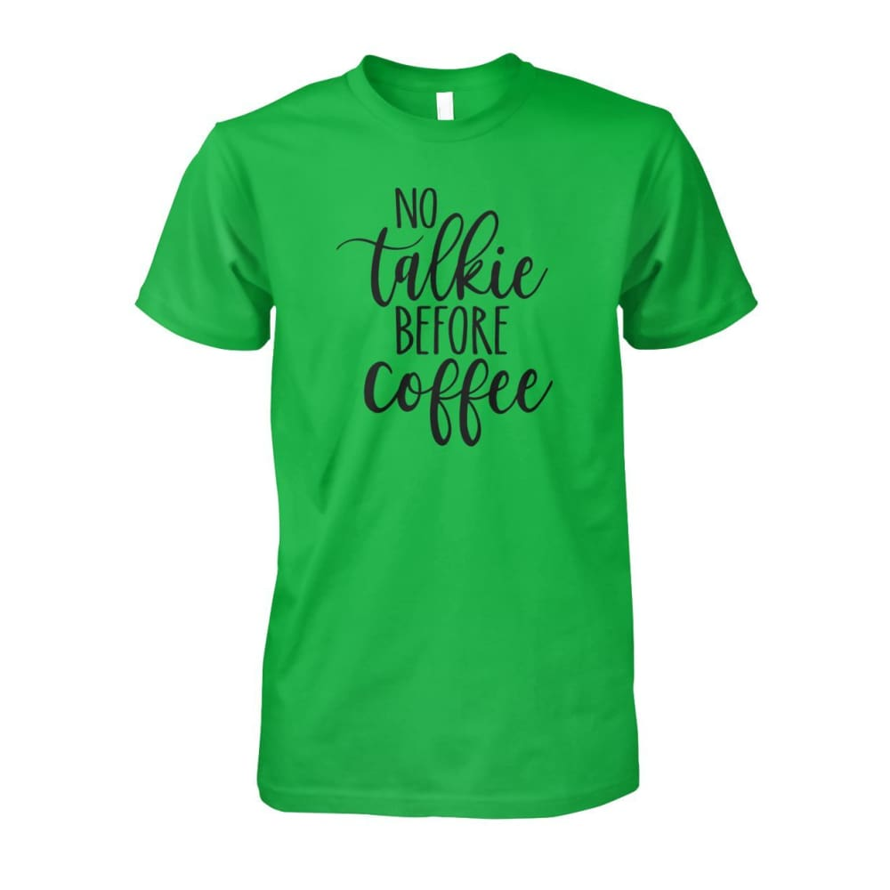 No Talkie Before Coffee Tee - Electric Green / S - Short Sleeves