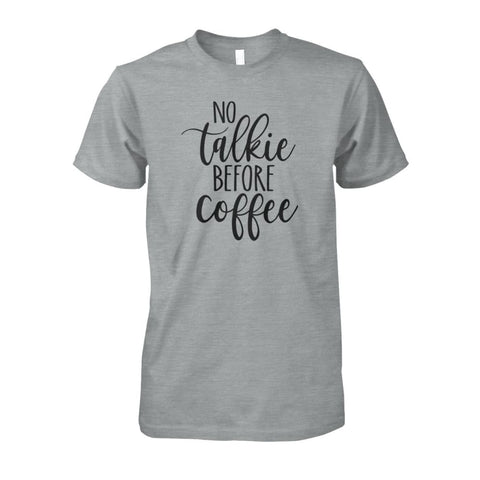 Image of No Talkie Before Coffee Tee - Sport Grey / S - Short Sleeves