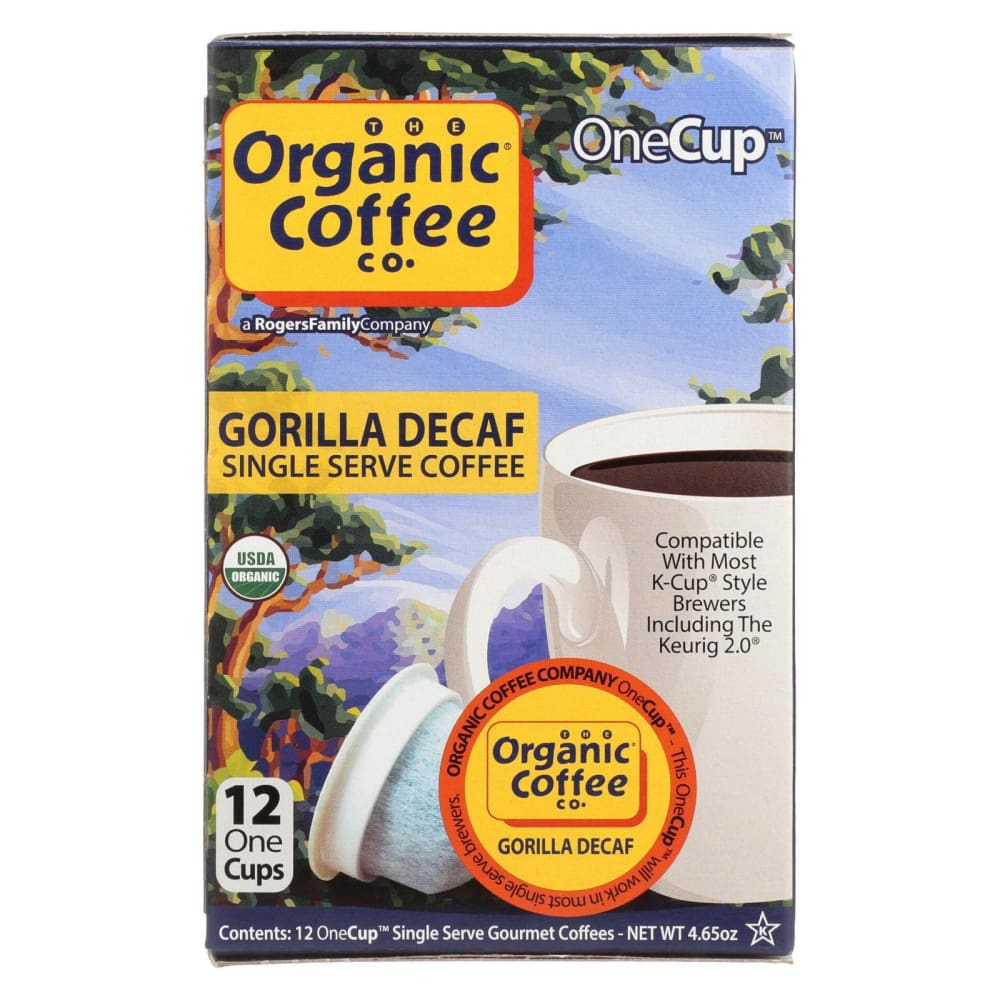 Organic Coffee Company Onecups - Gorilla Decaf - Case Of 6 - 4.65 Oz. - Eco-Friendly Home & Grocery