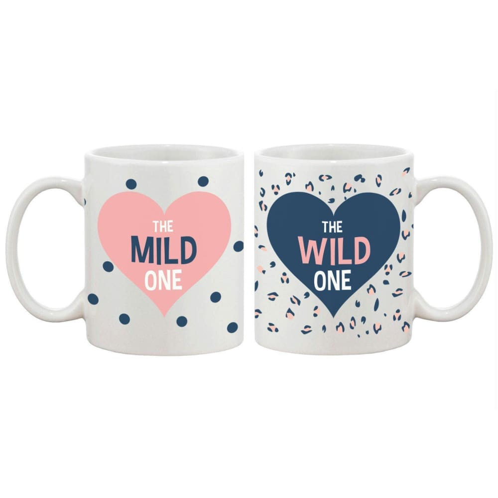 Polka Dot and Leopard Print BFF Mug- Mild and Wild One Best Friend Mug Cup - Apparel & Accessories