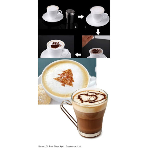Coffee Latte Cappuccino Barista Art Stencils Set of 16