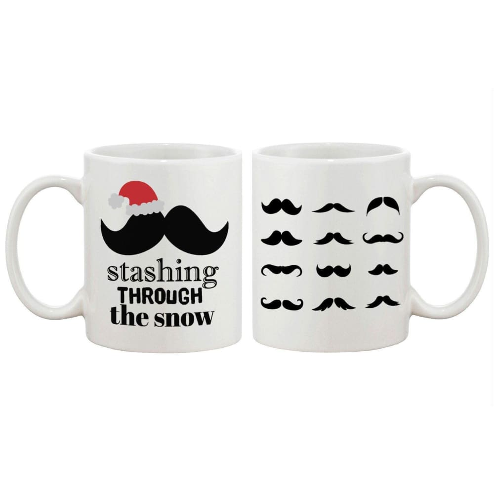 Stashing Through The Snow Holiday Mug Christmas Gifts Ideas Mustache Mugs - Apparel & Accessories