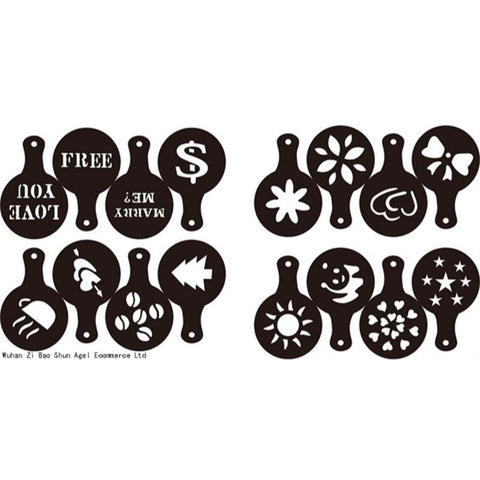Image of Coffee Latte Cappuccino Barista Art Stencils Set of 16