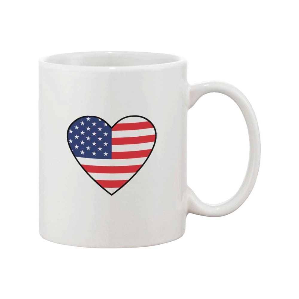 Us Flag Heart America Red White and Blue 4th of July Coffee Mug - Apparel & Accessories