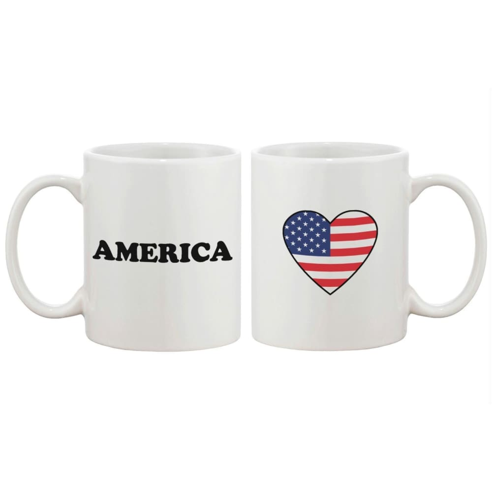 US Flag in A Heart Mug Cup Gift - Apparel & Accessories