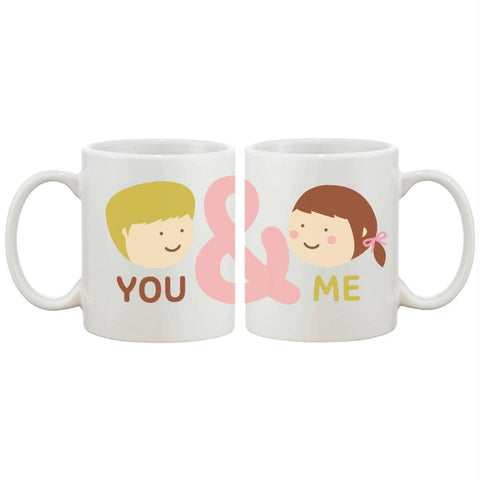 You And Me Matching Couple Mugs Cute Graphic Design Ceramic Coffee Mug Cup - Apparel & Accessories