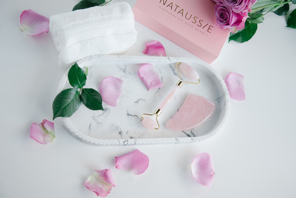 Nataussie rose quartz face roller and gua sha beauty tool