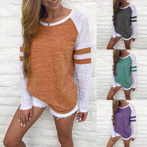 Women Long Sleeve Splice Blouse Tops Clothes T Shirt