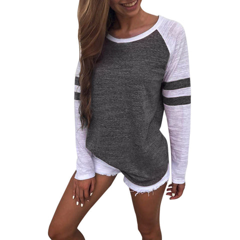 Image of Women Long Sleeve Splice Blouse Tops Clothes T Shirt