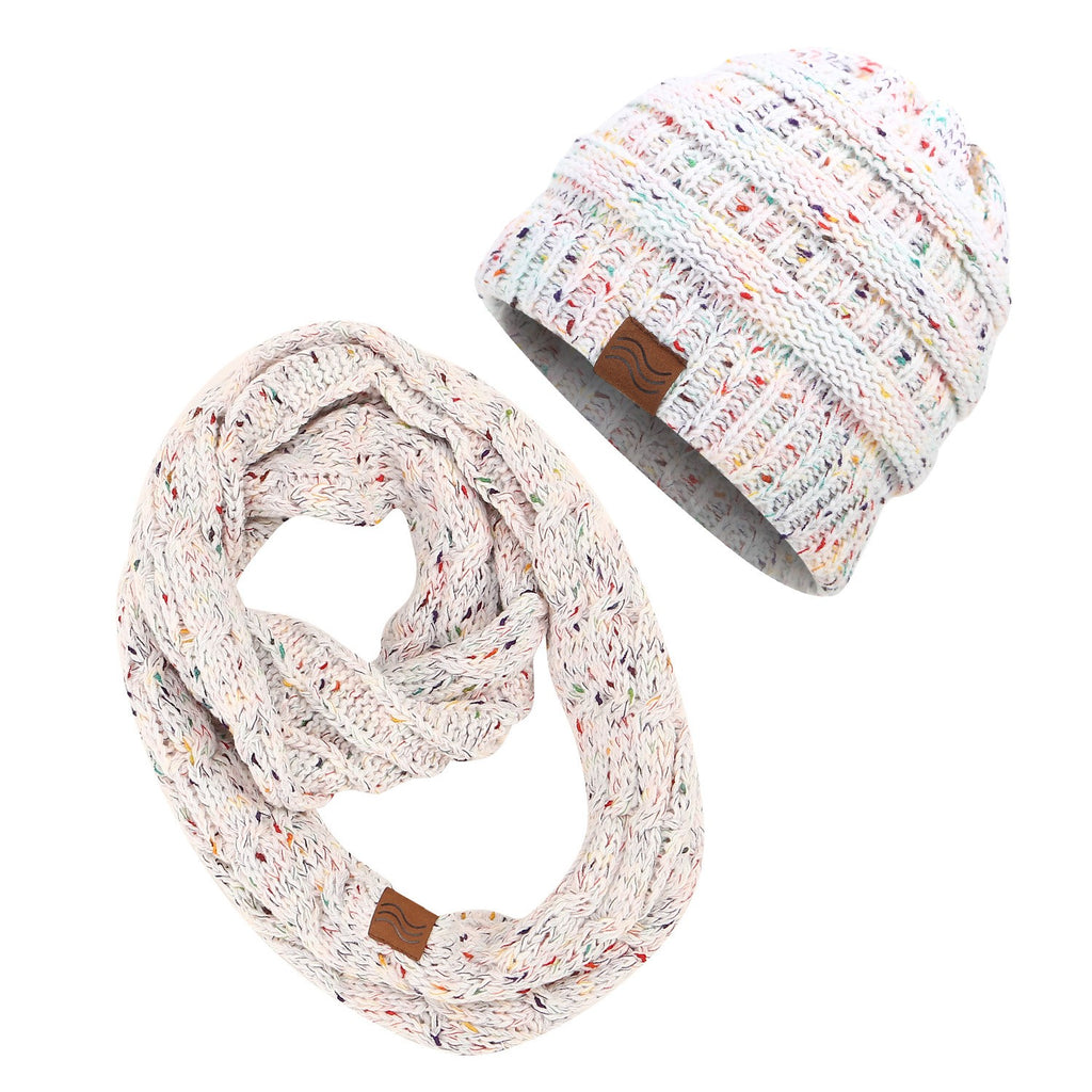 Ponytail Beanies & Scarf Sets