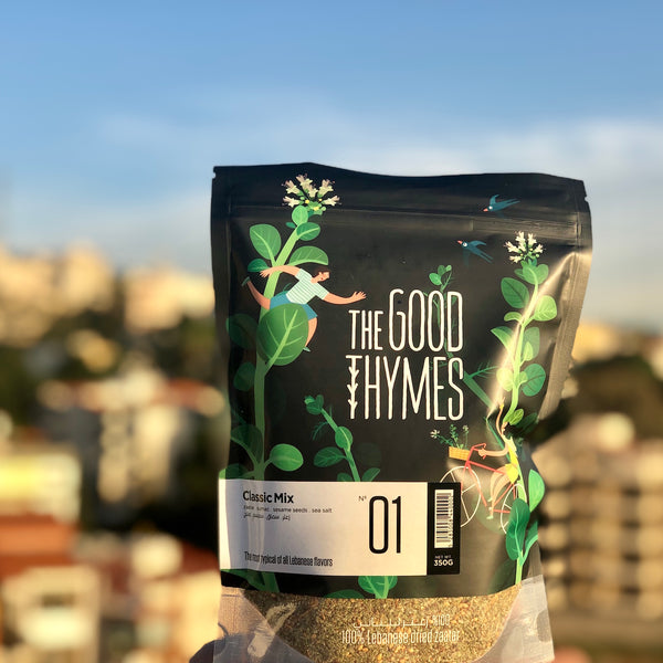 The Good Thymes Zaatar in the Lebanese Koullouna Tfaddalo box, in collaboration with Souk El Tayeb