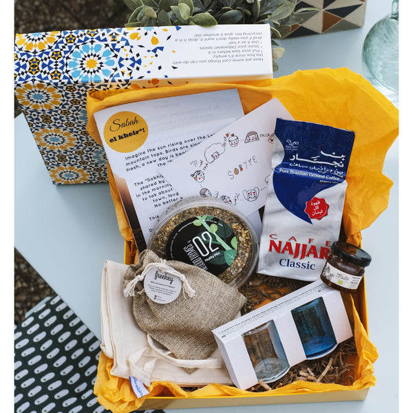Koullouna sobhye box, featuring Freekeh bites, cafe najjar, miel du levant, the good thymes, mimo quirks, green glass recycle lebanon by ziad abi chaker and the initiative of the month MARCH